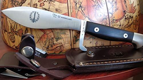 MIGUEL NIETO Nieto - COE 76 - Cuchillo GUERRILLERO granadillo. Funda Cuero - Herramienta para Caza, Pesca, Camping, Outdoor, Supervivencia y Bushcraft