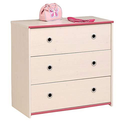Jugendmöbel24.de Kommode Smoozy B 79 cm weiß pink oder blau KinderJugendzimmer Anrichte Schrank Aufbewahrung Schubladen Mehrzweckschrank