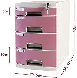 Classeurs WHLONG Fichier Rose Cabinet à Quatre Couches Papier A4 ménagers en Plastique de Bureau Multifonctions Fichier de...