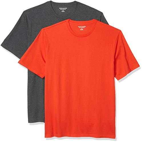 Amazon Essentials 2-Pack Crewneck T-Shirts Camiseta, Naranja Brillante/Gris Antracita, M, Pack de 2