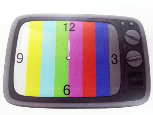 Out of the Blue Retro Wanduhr aus Glas - Fernseher TV Testbild - Uhr 30x20cm grau