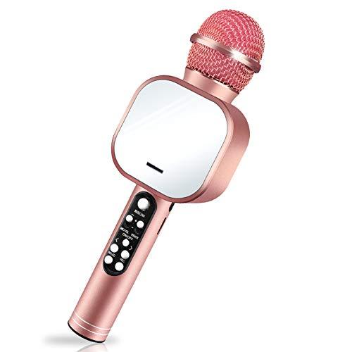 Karaoke Mikrofon, NINECY Bluetooth Mikrofon Kinder, Drahtlose Dynamisches Licht Mikrophon mit Lautsprecher Aufnahme, Geburtstag/Weihnachten Geschenk für Kinder/Erwachsene/Home/KTV/Party (Roségold)