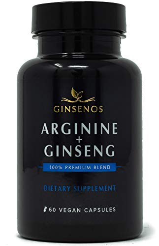 Arginine + Panax Ginseng - 60 Vegan Capsules - 100% Premium Blend Combines Korean Red Ginseng and L-Arginine - Extra Strength Pills - Improves Energy, Performance, Heart Health, Stamina by Ginsenos