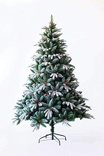 Senjie Artificial Christmas Tree,Feel Real Red Berry Tree with Snow Flocked 4.5/6/7 FT