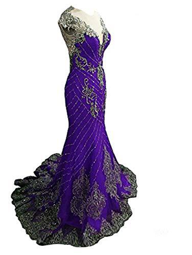 Tsbridal Luxury Mermaid Prom Dresses 2018 Lace Crystals Party Dress