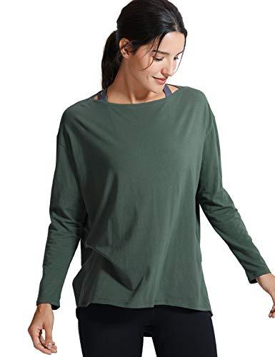 CRZ YOGA Donna Pima Cotone Casual Maniche Lunghe T-Shirt Loose Fit Abbigliamento Sportivo Verde Oliva 38