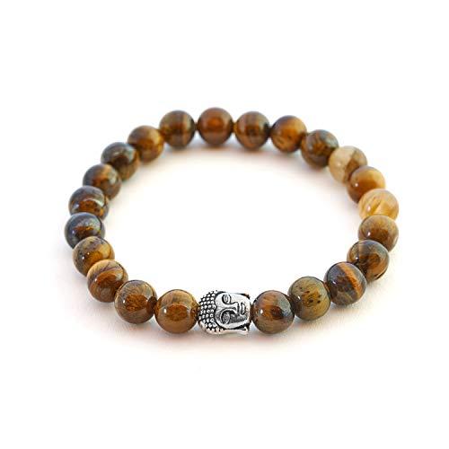 Ojo de tigre pulsera de Buda de piedra natural o perlas de piedras volcánicas y...