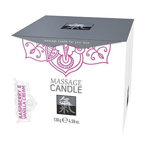 Massagekerze mit Aroma Himbeer- und Vanille-Creme Massage 130g Duft Kerze für Paare aus Wachs Paarmassagen