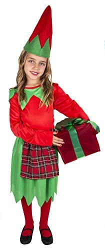Gojoy shop- Disfraz de Elfa para Niñas Navidad Carnaval (Contiene Vestido y Gorro, 4 Tallas Diferentes) (3-4 años)