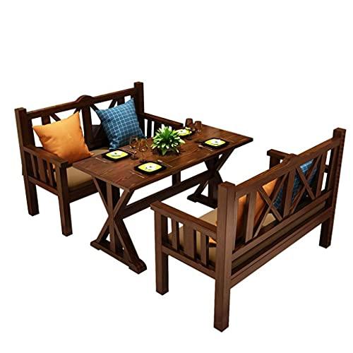 Juego de mesa y sillas de comedor de cocina de madera de 3 piezas, juego de barra de jardín al aire libre, cocina casera, pino natural, resistencia a altas temperaturas, resistencia a las manchas