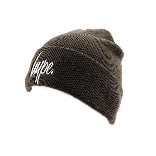 Hype Bonnet à Revers Script Kaki et Blanc - Mixte