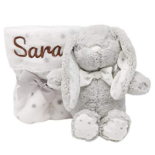 Mababyshop- Set Manta y Peluche Personalizado para regalo de recién nacido | Detalles de Nacimiento Personalizados | Modelo Bunny… (Gris)