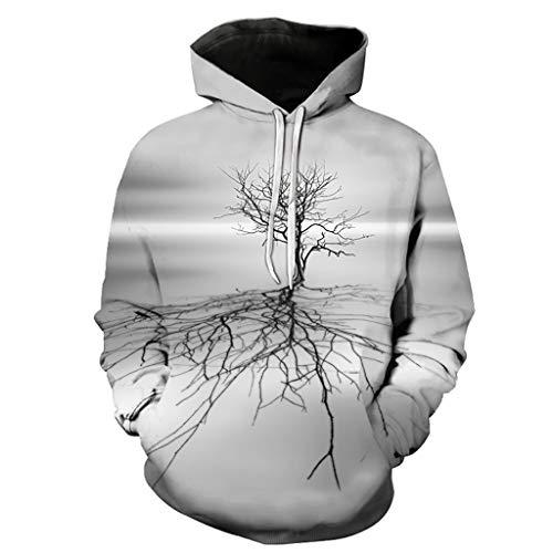 Sudaderas unisex con capucha para niños, unisex de moda Cool Pullover sudadera con capucha 3D estampado de árbol muerto sombra patrón moda personalidad Outwear con bolsillos grandes