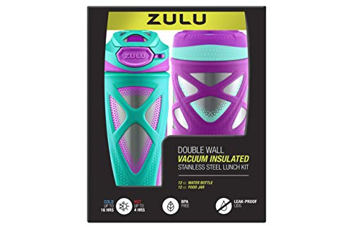 ZULU Kids Water Bottle and Canister Set - Purple and Teal