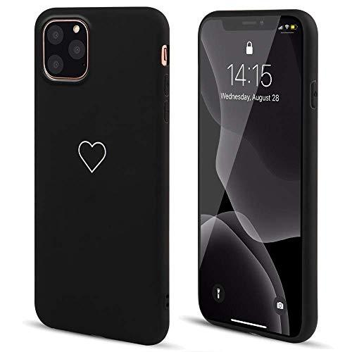 LAPOPNUT Hülle für iPhone 11 Cute Love Heart Hülle Matt Soft Silicone Slim TPU Handytasche Flexible Schutzhülle HandyHülle Back Cover Hülle für Apple iPhone 11,Black