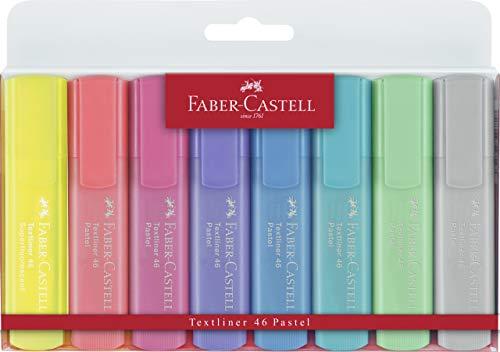 Faber-Castell 154681 - Estuche con 8 marcadores fluorescentes tonos pastel y 2 marcadores amarillos con tonalidad normal Textliner 1546, multicolor