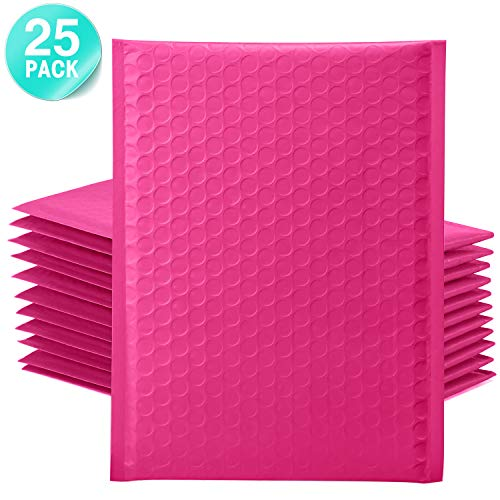 GSSUSA Pink Poly Bubble Mailers 6x10 Padded Envelopes #0 Shipping Envelopes Bubble Mailers Self Sealing Padded Envelope 25Pack