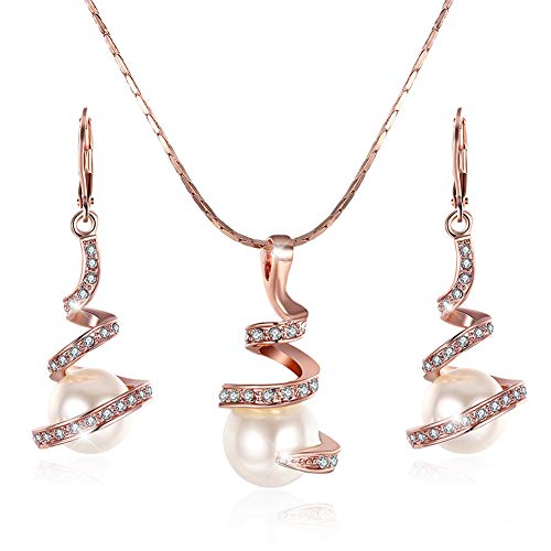 Schmuck Damen Set Rosegold Teenager Fashion Süßwasser Perlen Clip auf Ohrringe Billig Lang Anhänger Halskette für Frauen Hergestellt Schmuck-sets (Rose Gold Set)