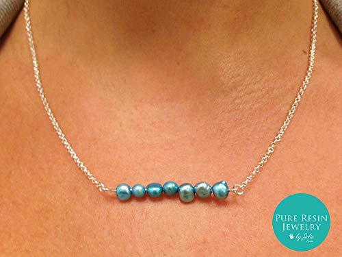 Bindu - Delicado collar de turquesa perlas de agua dulce, Piedra del zodíaco Junio, Gargantilla de plata, Perla pequeña natural, Regalo romántico para mujer - 69PI