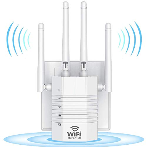 WiFi Booster, 1200Mbps WiFi Extender Repeater, Covers Up to 2500 sq.ft and 30 Devices, 5G/2.4G Dual Band Wireless Signal Booster with 4 High-Gain Antennas