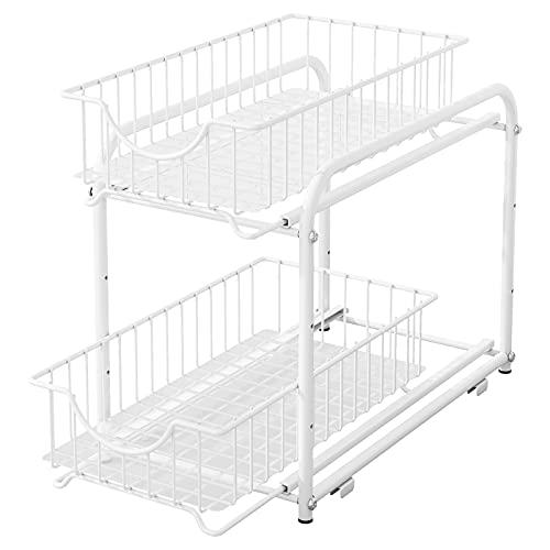 AIYAKA 2 Tier Stackable Sliding Basket Organizer Drawer For Kitchen And Bathroom/Cabinet Drawers,White