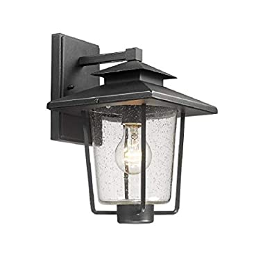 Bestshared Outdoor Wall Lantern, 1-Light Exterior Wall Mount Light Sconce with Seeded Glass in Black Finish
