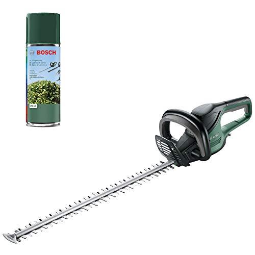 Bosch Heckenschere AdvancedHedgecut 65 (500 Watt, Messerlänge: 65cm, für große Hecken, Messerabstand: 34mm, in Karton) + Bosch Home and Garden 1609200399 Pflegespray, grün