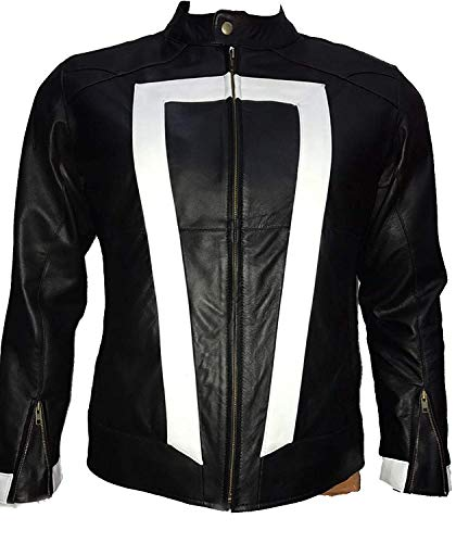 LovezLeather Ghost Rider Agents of S.H.I.E.L.D Gabriel Luna Robby Reyes Black Leather Jacket (M - Jacket Chest 46