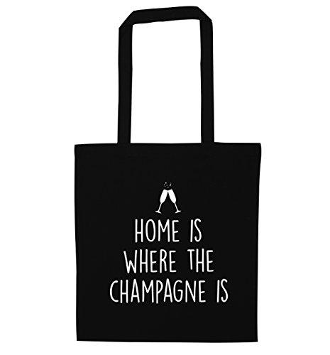 """Einkaufstasche mit Aufschrift """"Home is where the champagne is"""" Gr. One size, Schwarz"""