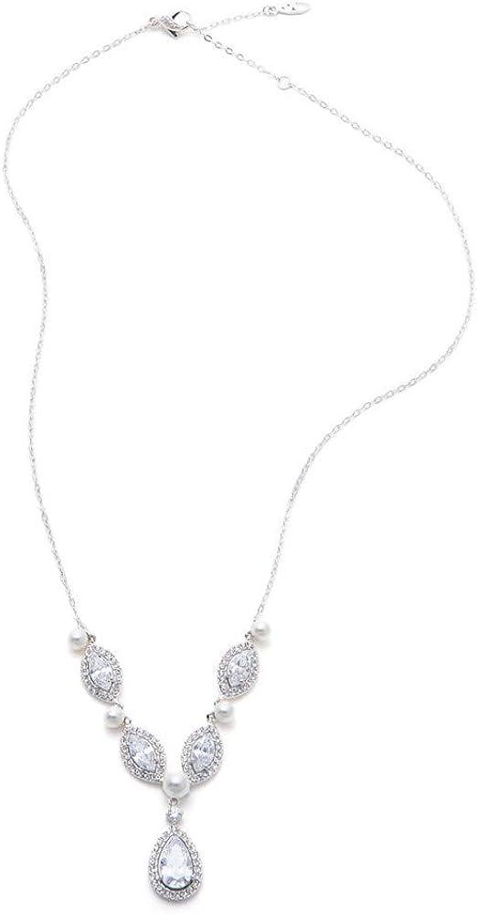NADRI Pearl and Cubic Zirconia Frontal Y Necklace