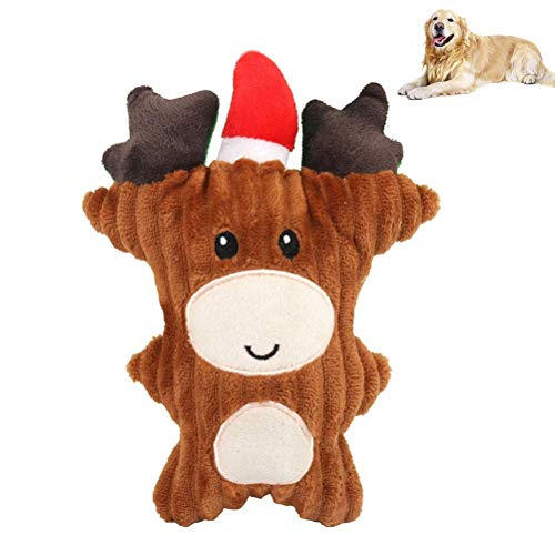 FENGLI Pet Sounding Dog Chew Toy,Pet Dog Plush Toys Reindeer Antler Chew Toy Christmas Interactive Dog Toys for Dog Puppy