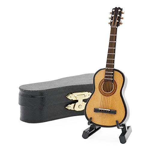 Odoria 1/12 Miniatur Gitarre mit Ständer und Koffer Für Musikinstrument Puppenhaus Dekoration Zubehör