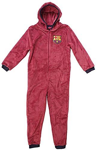 Jungen Offiziell Barcelona FCB mit Kapuze Fleece Reißverschluss Schlafanzug Strampler Einteiler Größen von 3 to 12 Years - Blau, 3-4 Years
