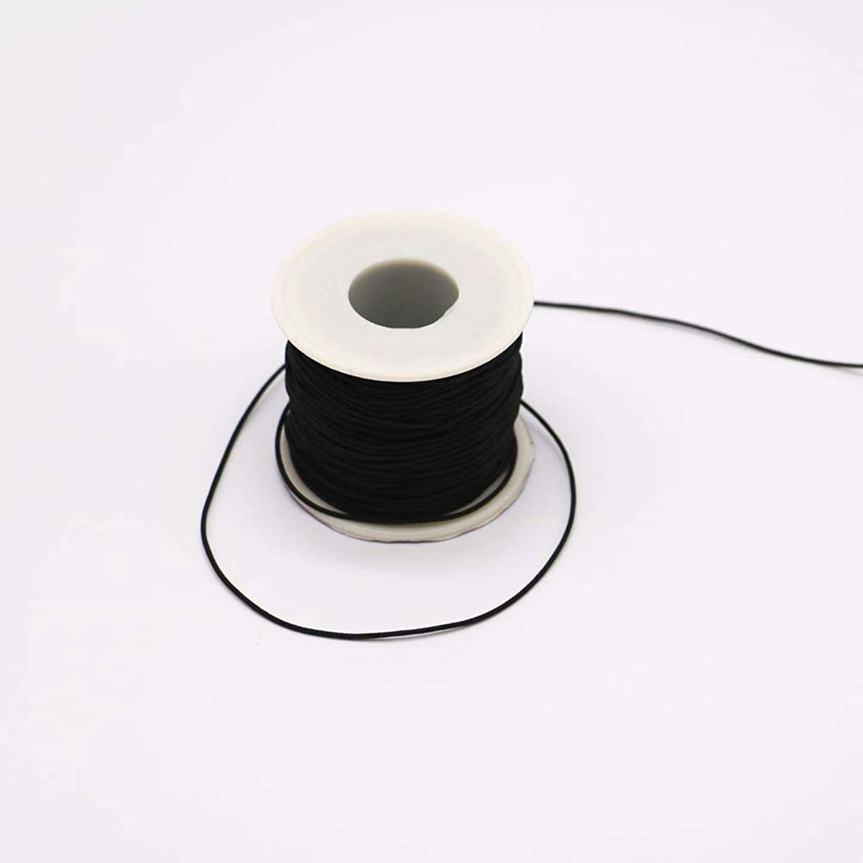 1 mm Elastic Cord Beading Threads Stretch String Fabric Crafting Cords for Jewelry Making (Black, 100 m)
