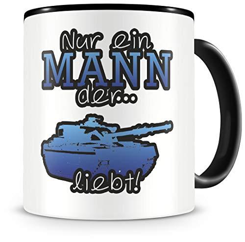 Samunshi Panzer Tasse mit Spruch Panzer Liebe Geschenk für Panzer Fans Kaffeetasse groß Lustige Tassen zum Geburtstag schwarz 300ml