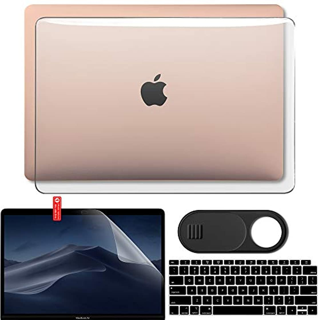 GMYLE MacBook Air 13 Inch Case 2018 Release A1932 with Touch ID Retina Display New Version Bundle, Plastic Hard Shell, Keyboard Cover, Privacy Webcam Cover Slide, Screen Protector Set, Crystal Clear