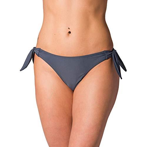 Aquarti Damen Tanga Bikinihose Seitlich Gebunden Brasilian, Farbe: Graphit, Größe: 38
