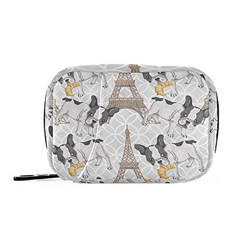 Cozyhome - Scatola portapillole per 7 giorni Torre Eiffel Carino Buldog francese Am Pm 8 scomparti per pillole individuali con cerniera