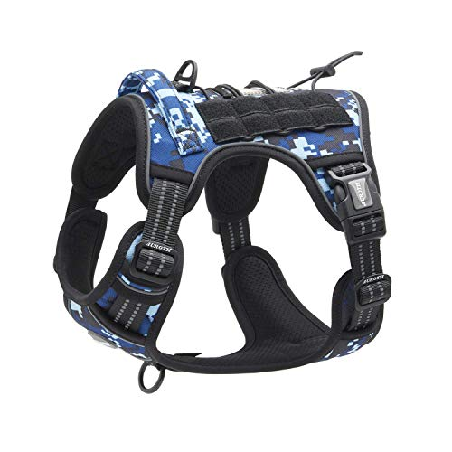 Auroth Tactical Dog Training Harness No Pulling Front Clip Leash Adhesion Reflective K9 Pet Working Vest Easy Control for Small Medium Large Dogs Blue Camo S