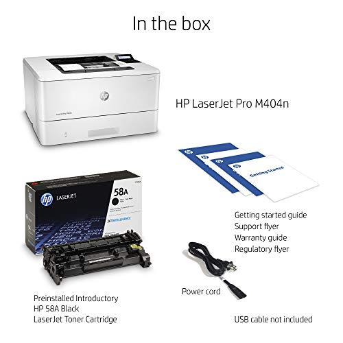 HP LaserJet Pro M404n Laser Printer with Built-in Ethernet & Security Features (W1A52A)