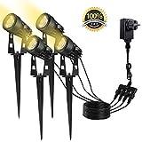 Gartenleuchte 4 Stücke Gartenbeleuchtung Set von GREEMPIRE IP65 Wasserdicht LED Gartenstrahler Pflanzenstrahler 3000K 1080 Lumen 4 * 3W mit Erdspieß Spotbeleuchtung - Warmweiß