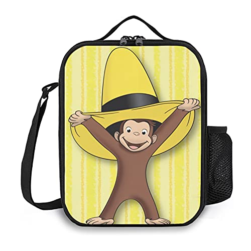 Curious George Reusable Snack Bags, Multi-functional Insulated Lunch Box Tote Bag for Kids and Women, Suitable for Office, School, Picnic, Travel or Shopping