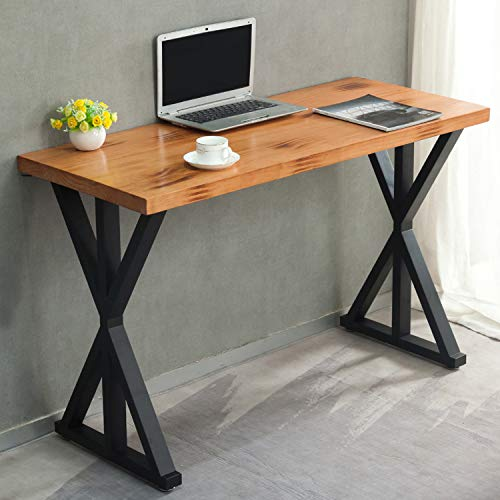 2 Pcs Industrial Metal Modern Table Legs, Heavy Duty Metal Desk Legs, Rustic Furniture Legs for Office, Dining,DIY Cast Iron Bench Legs,Black (H:28 W:17.7 Inchs, Triangle-Shape)