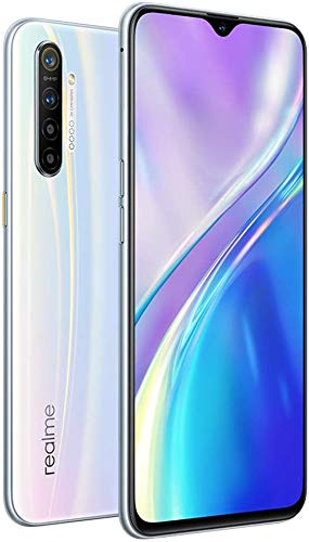 Realme XT (128GB, 8GB RAM) 6.4' AMOLED, 64MP Quad Camera, Snapdragon 712, Dual SIM GSM Unlocked, US + Global 4G LTE International Model - RMX1921 (Pearl Blue, 128GB + 64GB SD + Case Bundle)