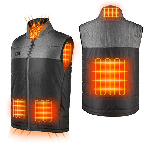 Heated Vest for Men Rechargeable Heating Vest with Battery Pack Washable Winter Warm Vest 6 Heating Panels for Outdoor Sport Fishing Skiing Hunting Camping Black Heated Vest