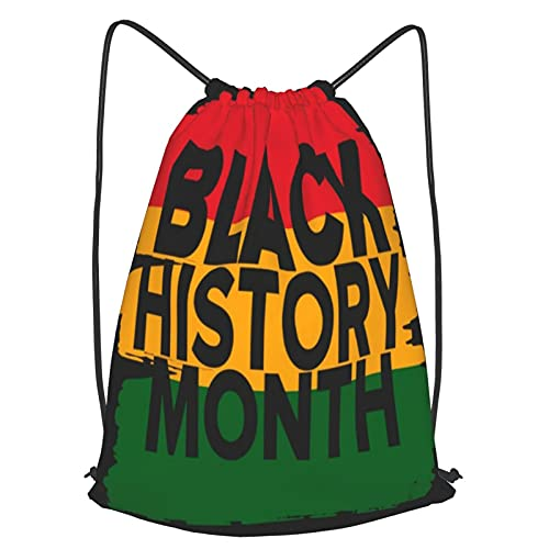 Drawstring Backpack Bag,Black History Month African American History Celebrated Annual,Sport Gym Sackpack Cinch Waterproof Bag For School Yoga Gym Swimming Travel Backpack