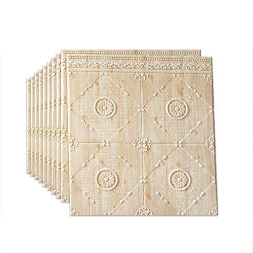 LRZS Wandpaneel Dorf-Art-Wand Zaun Soft 3D Wallpaper 70 * 70cm Bedside Dekorative Riemchen Anti-Kollisions-Esszimmer Wandpaneele Wasserdicht (Color : Beige, Size : 10pcs)