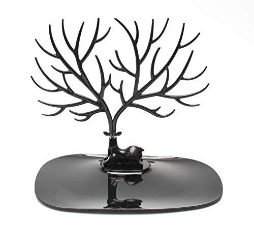 Soporte de joyería, collar, pulsera, soporte, soporte de pendiente, soporte de exhibición de almacenamiento en forma de árbol de asta de bosque para colgar o exhibir joyas, pulsera, collar (negro)