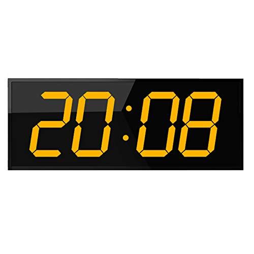 Reloj digital LED de doble cara, cronómetro incorporado, 16 grupos alarmas, temporizador y temperatura, panel de plexiglás - 10 años de vida, ideal para lugares públicos, gimnasio ( Color : Yellow )