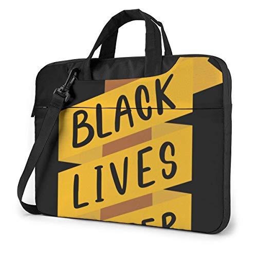 15.6 Inch Funda Bandolera Maletín para Portátil Maletín de Hombro para Negocio Viaje Black Lives Matter Mano